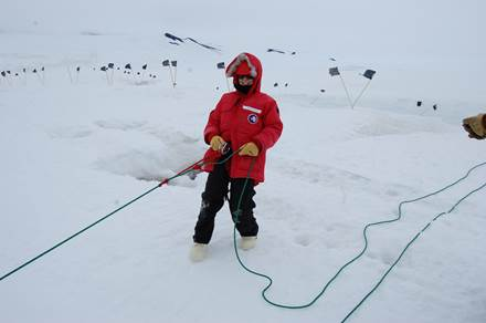 Melissa Nigro at crevasse training on the  Ross Ice Shelf, Antarctica