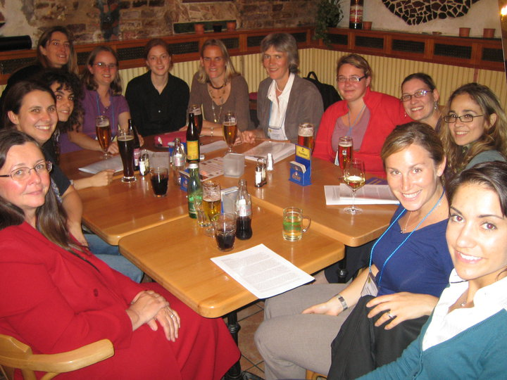 Women share a meal at the 2010 EGU meeting to network and socialize