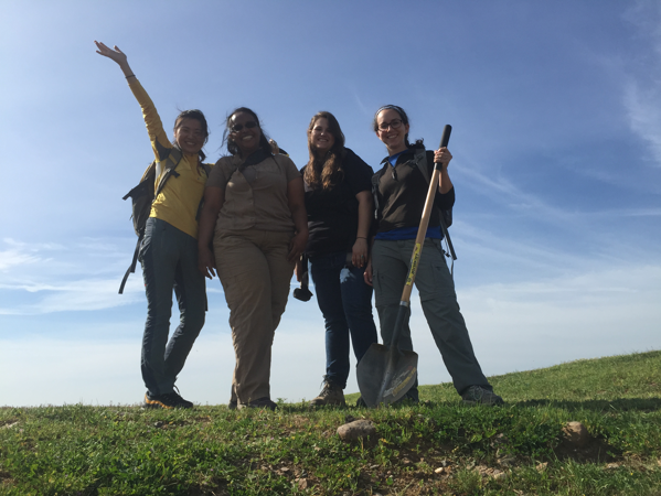 Berhe with her graduate students Rebecca, Kimber and Lixia at the UC Merced Vernal Pools Reserve